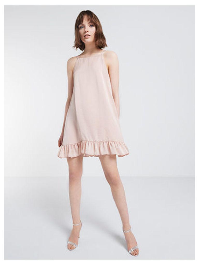 Nude Satin Frill Hem Dress