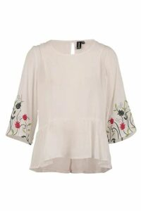 Embroidery Peasant Top