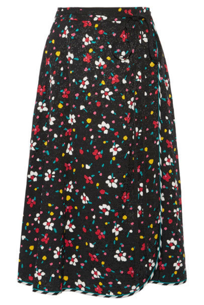 Marc Jacobs - Floral-print Silk-jacquard Wrap Skirt - Black