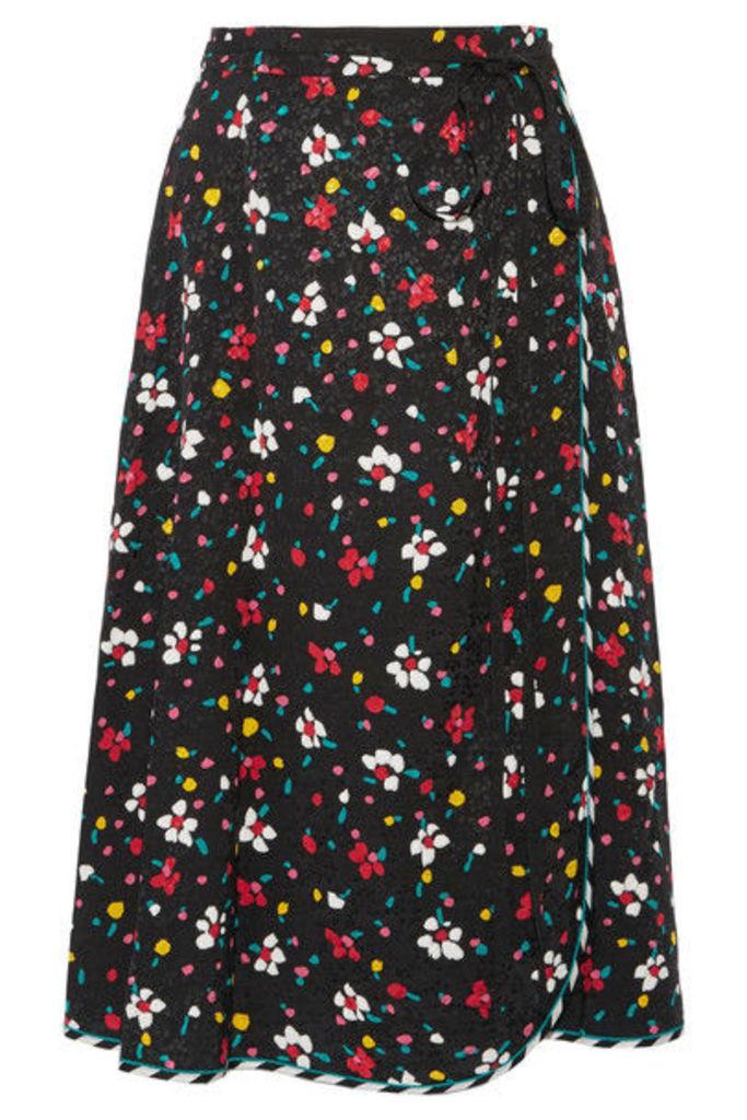 Marc Jacobs - Floral-print Silk-jacquard Wrap Skirt - Black