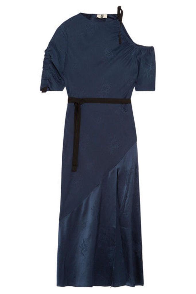 Topshop Unique - Lambeth Cutout Silk-jacquard Midi Dress - Navy