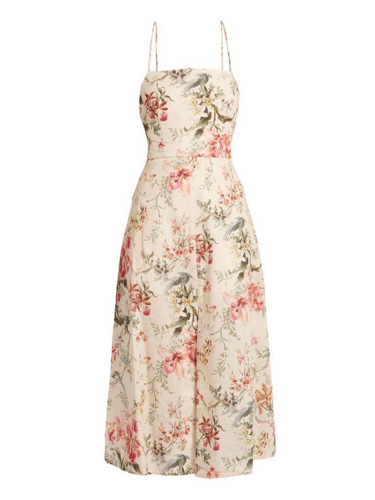 Mercer floral-print open-back dress
