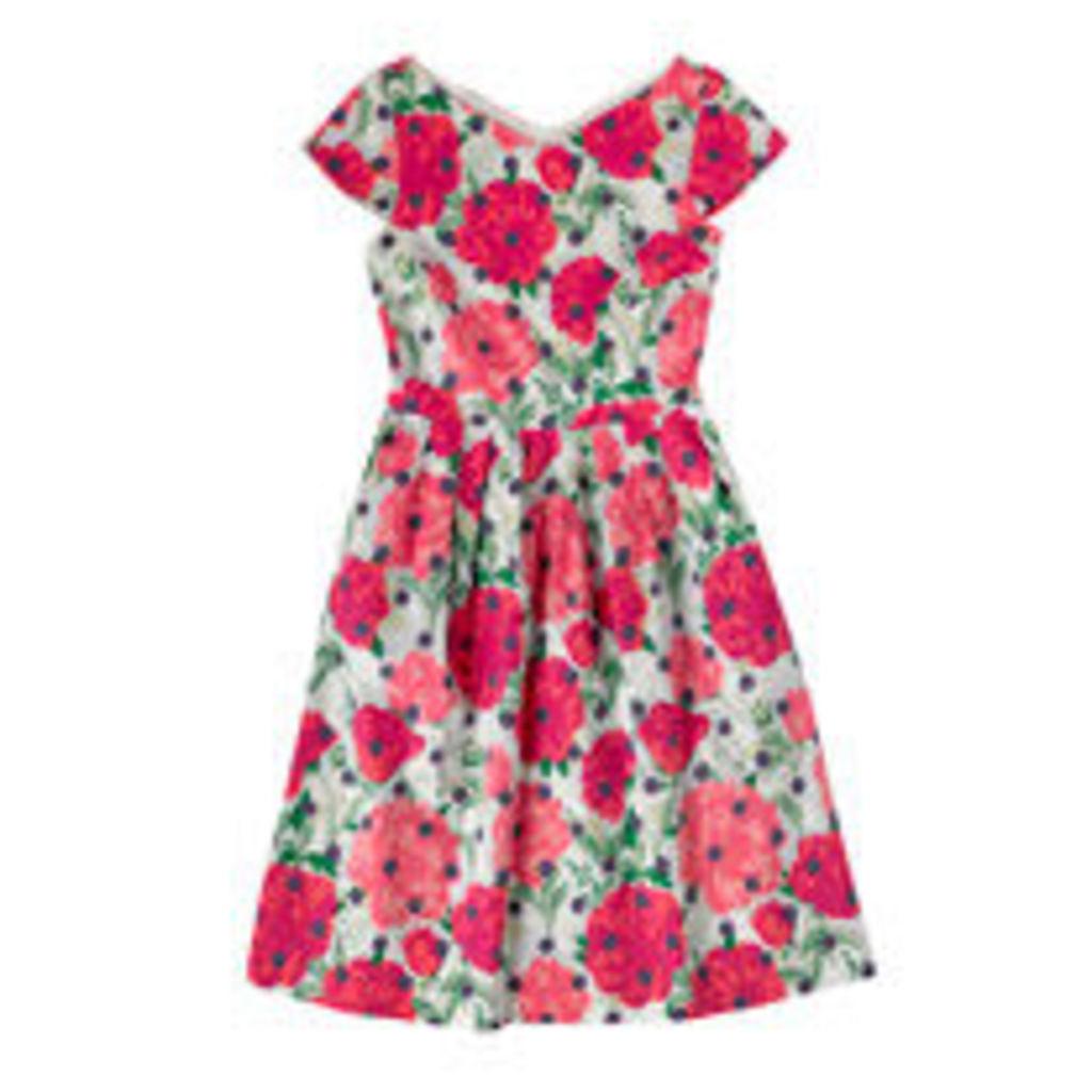 Peony Spot Cotton Sateen Dress