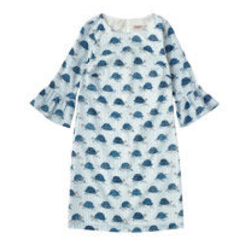 Tortoise Stripe Frill Sleeve Dress