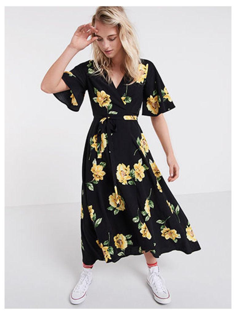 Black & Yellow Lou Lou Floral Wrap Midi Dress