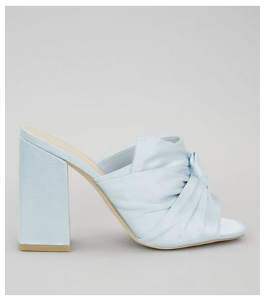 Wide Fit Blue Satin Twist Top Heeled Mules