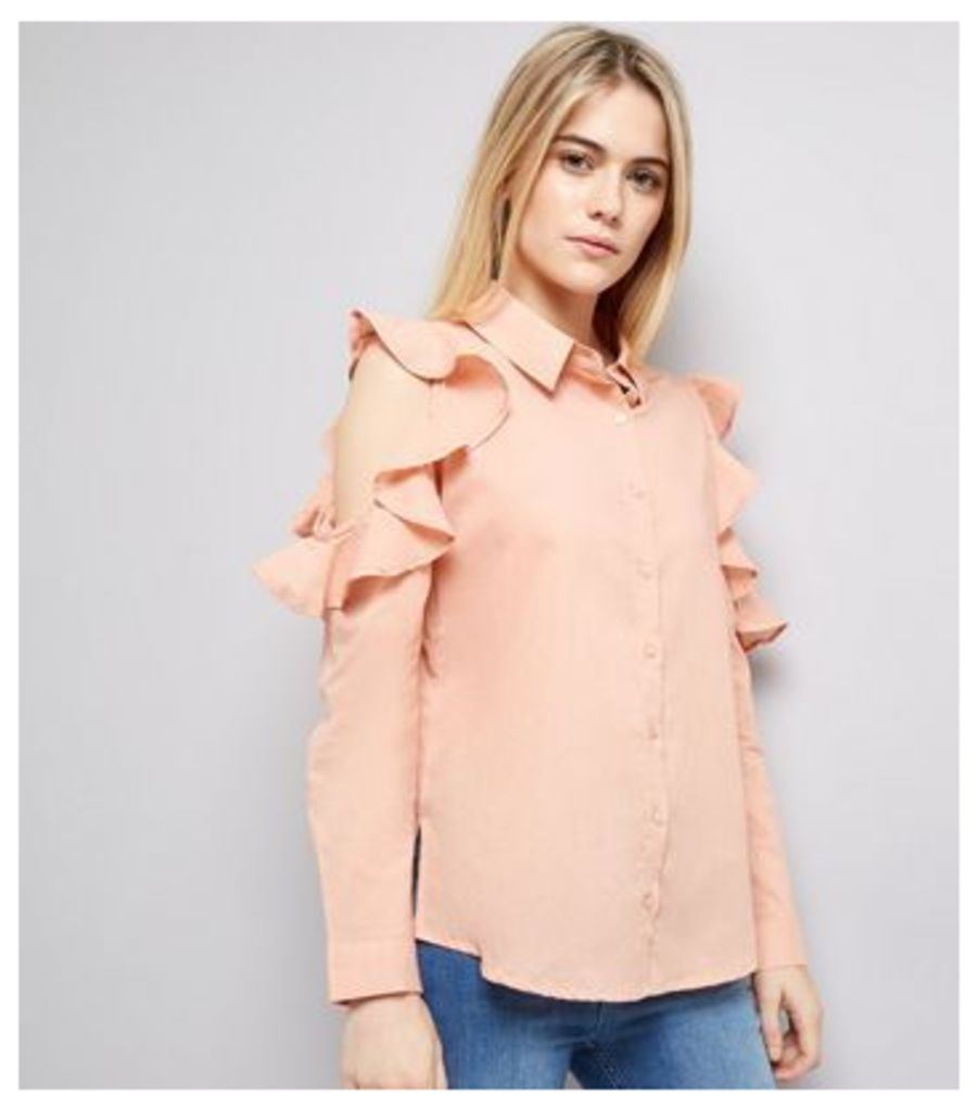 Influence Shell Pink Frill Trim Cold Shoulder Shirt