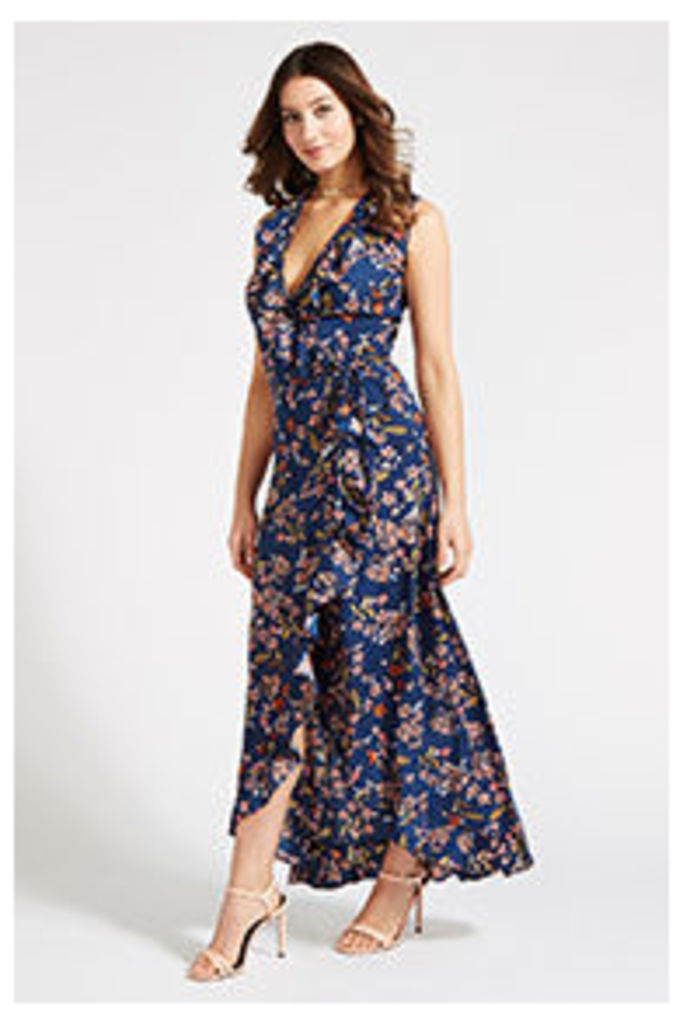 Navy & Pink Blossom Print Wrap Maxi Dress