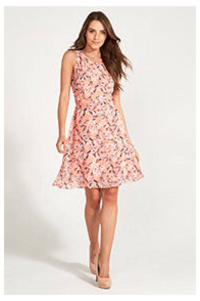 Coral Grey & Stone Floral Watercolour Print Structured Dress