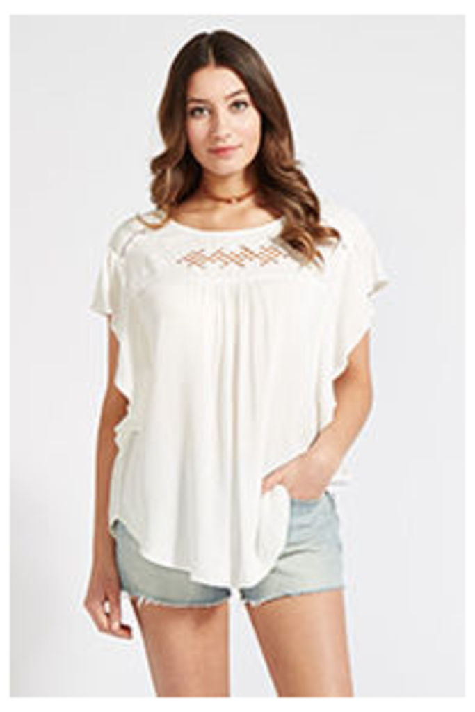 White Embroidered Lattice Panel T-Shirt