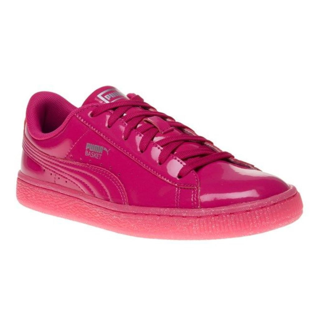 Puma Basket Heart Patent Trainers, Beetroot Pink