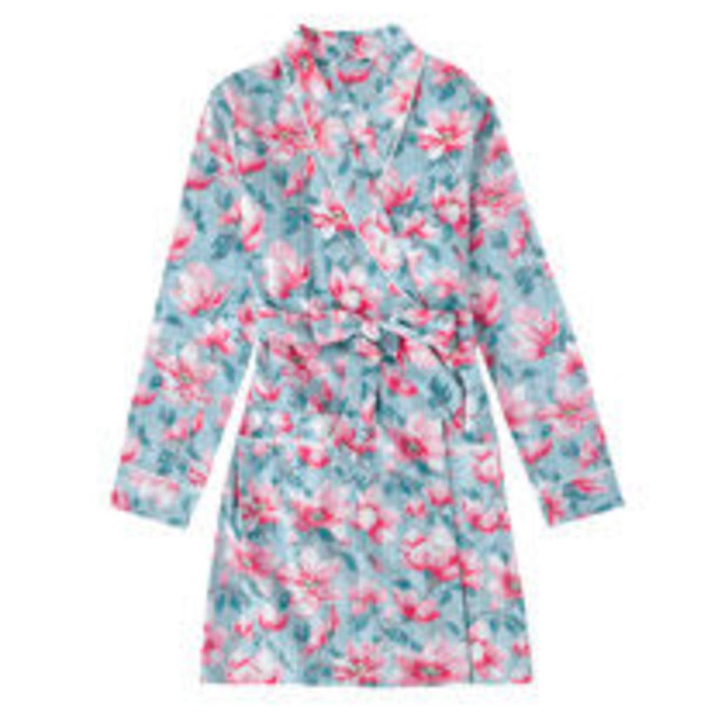Magnolia Satin Stripe Short Dressing Gown