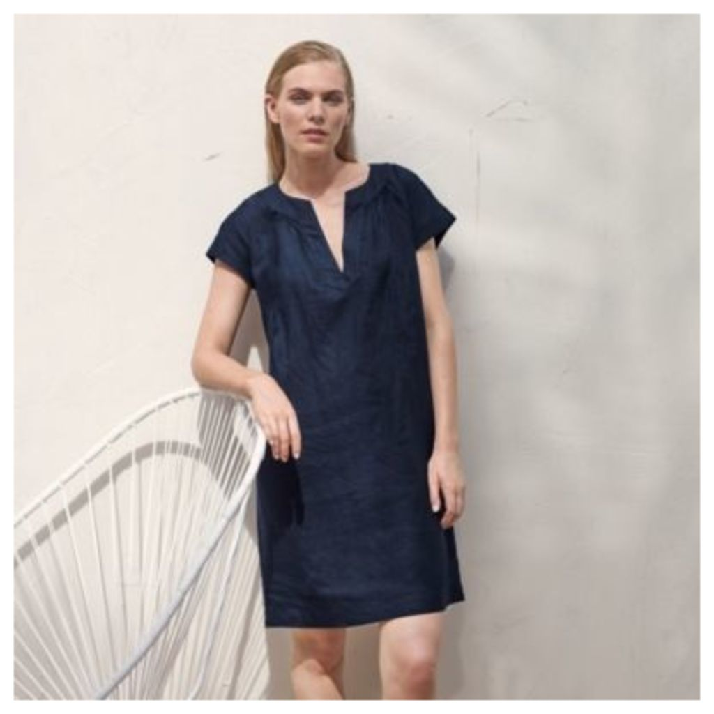 Linen Notch Neck Dress