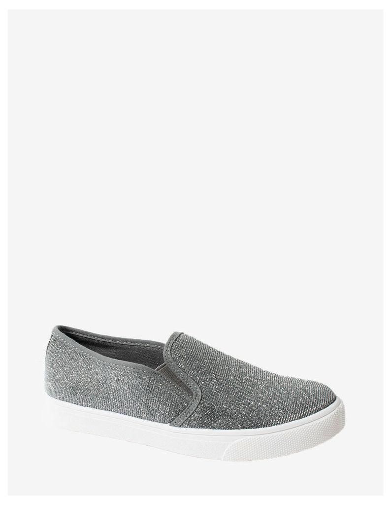 LEIGHANN - Grey Glitter Plimsoll Shoes