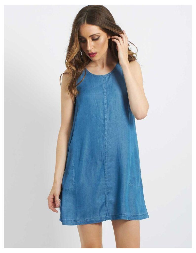 CARRISS - Sleeveless Tencel Shift Dress Blue