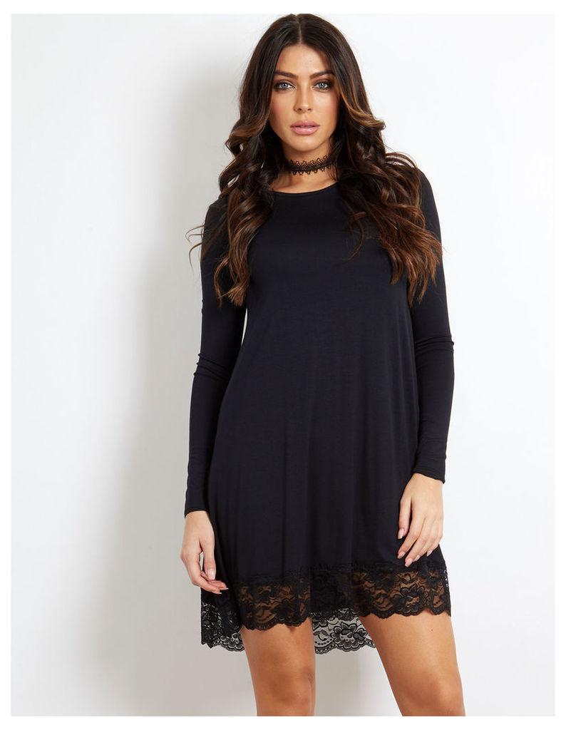KESTA - Lace Hem Tunic Black
