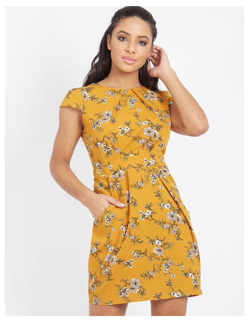 LORAL - Floral Tie Back Dress Mustard
