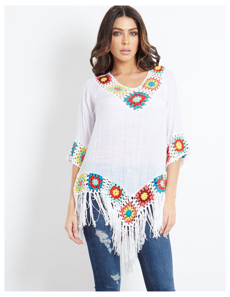 SKYLER - Crochet & Tassel Trim Top