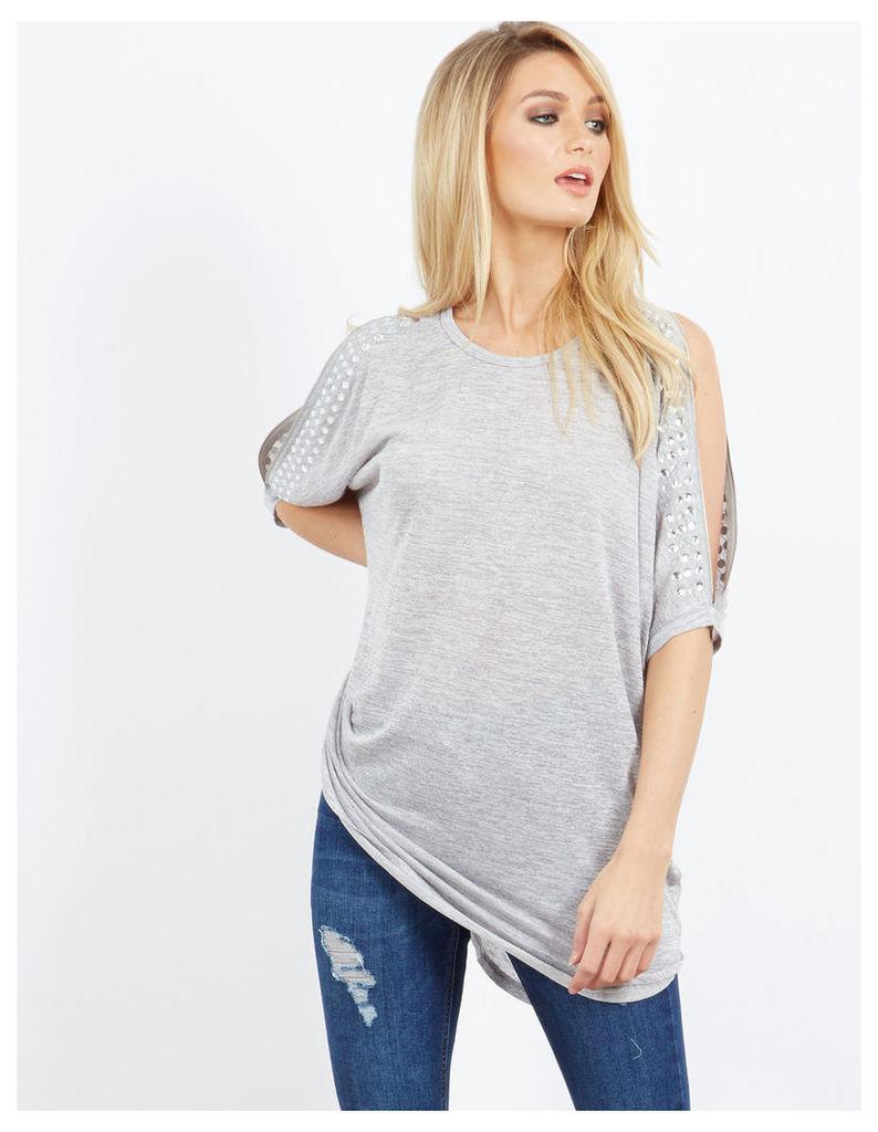LEEAH - Zip Cold Shoulder Top Grey