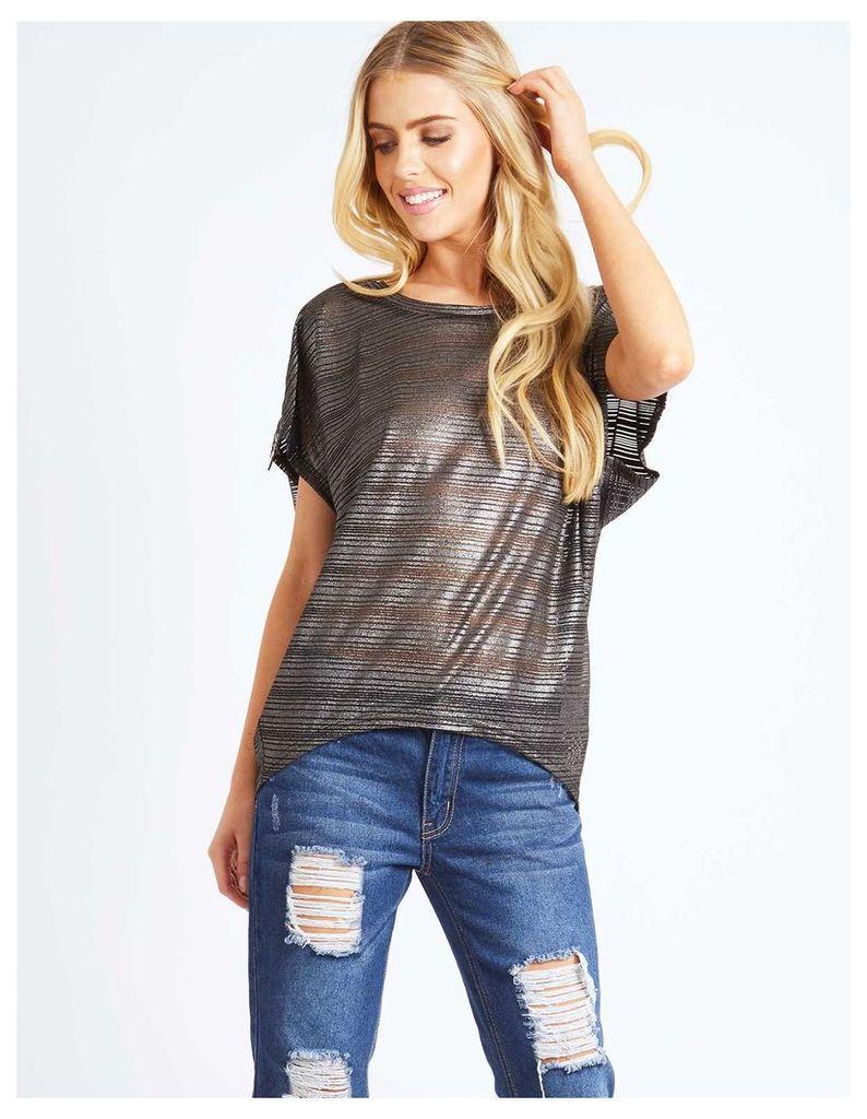 RAZIAH - Zip Shoulder Metallic Stripe Oversize Top Grey