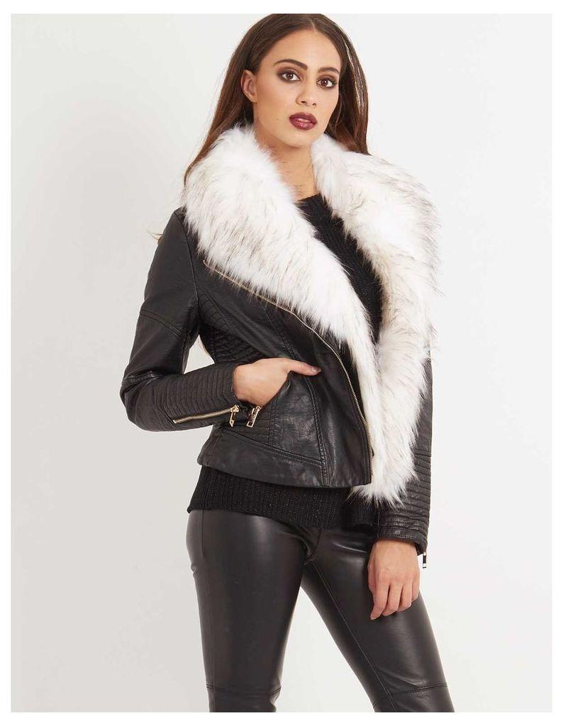 TELLER - Leather Look White Faux Fur Jacket Black