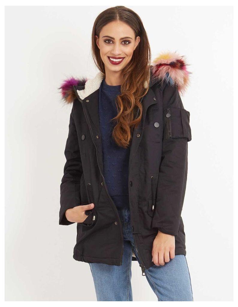 ANAIS - Multi Fur Hood Parka Black