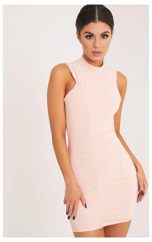Glendah Nude Ruched Side Sleeveless Bodycon Dress