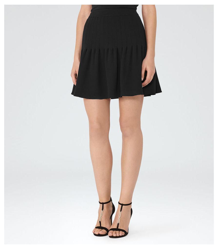 REISS Lexi - Womens Pin-tuck Mini Skirt in Black