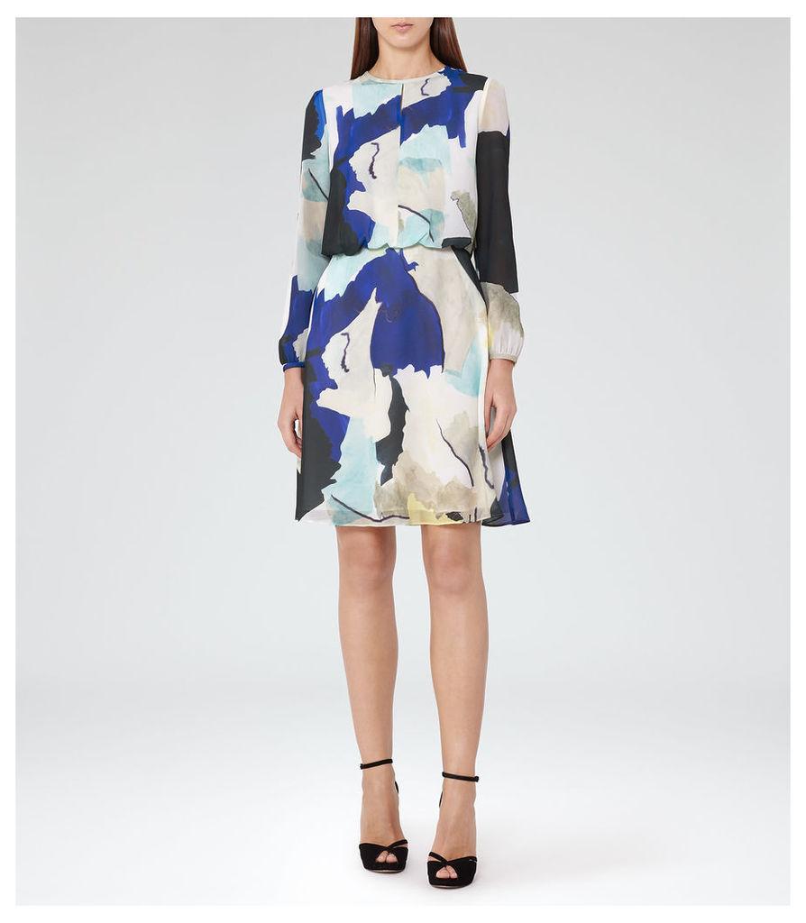 REISS Neave  - Womens Watercolour-print Dress in Blue