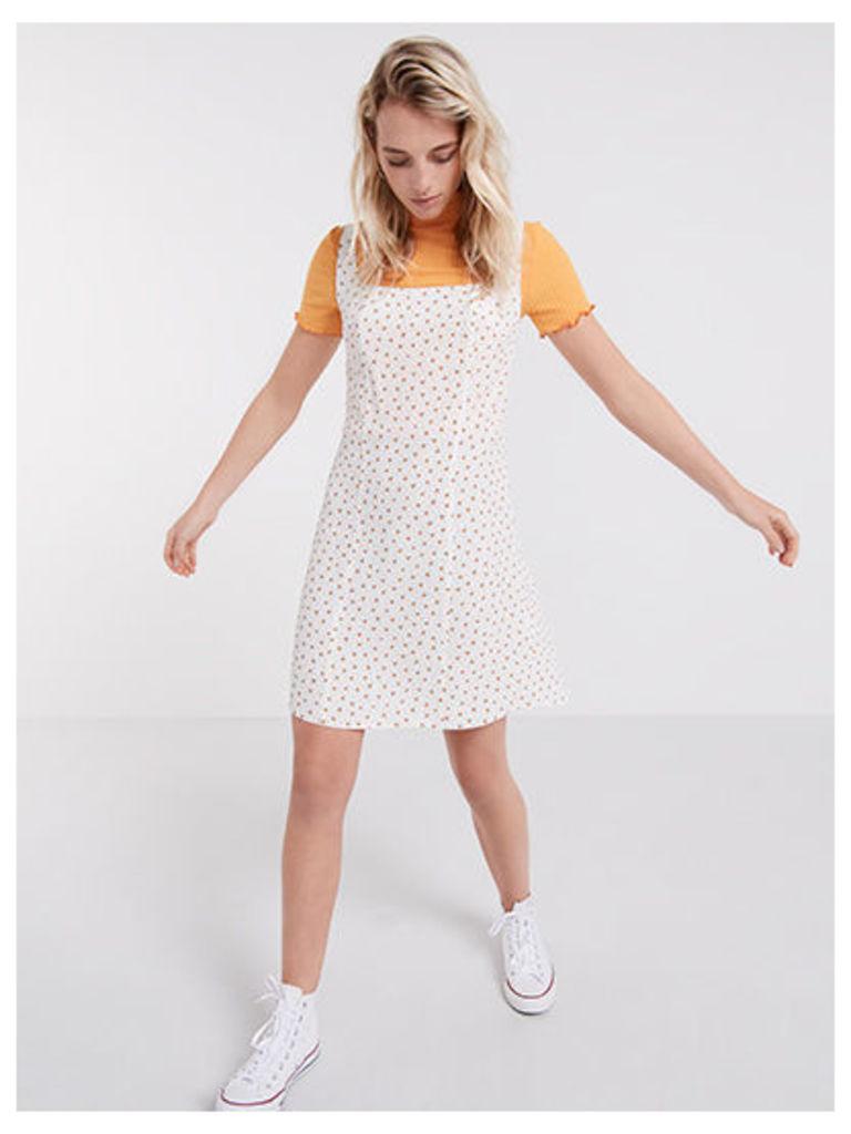 White Ashley Vintage Ditsy Tie Back Dress