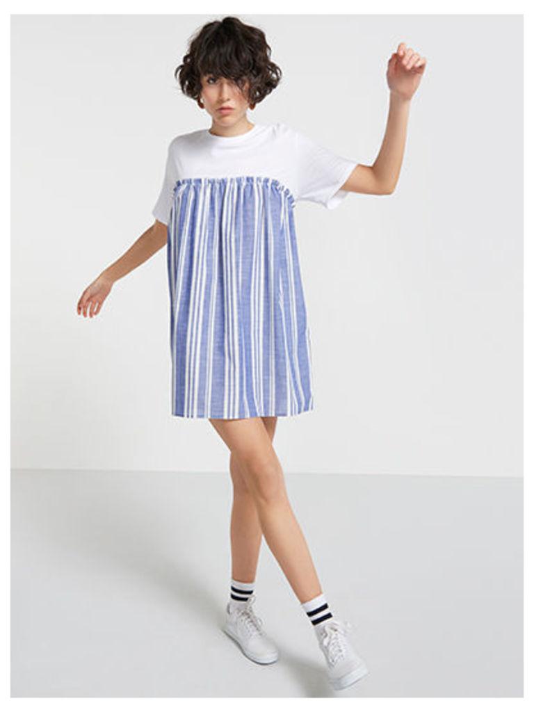 Blue & White Stripe Jersey Mix Smock Dress