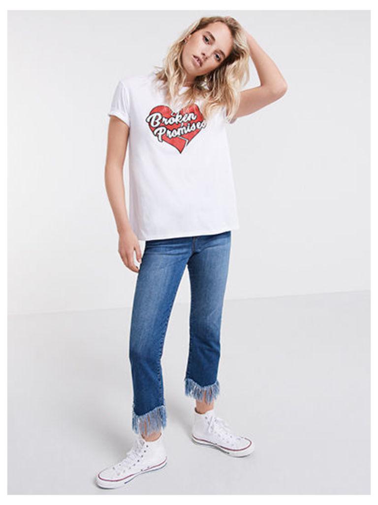 White Broken Promises Boyfriend T-Shirt