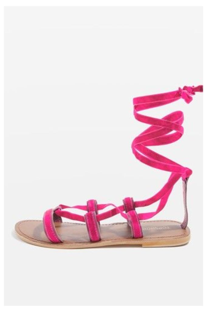 Womens HACIENDA Velvet Ribbon Sandals - Pink, Pink