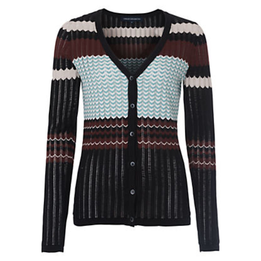 French Connection Chevron Knit Cardigan, Black/Multi