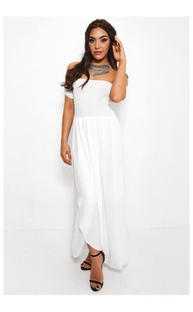 Sissi White Front Split Bardot Dress