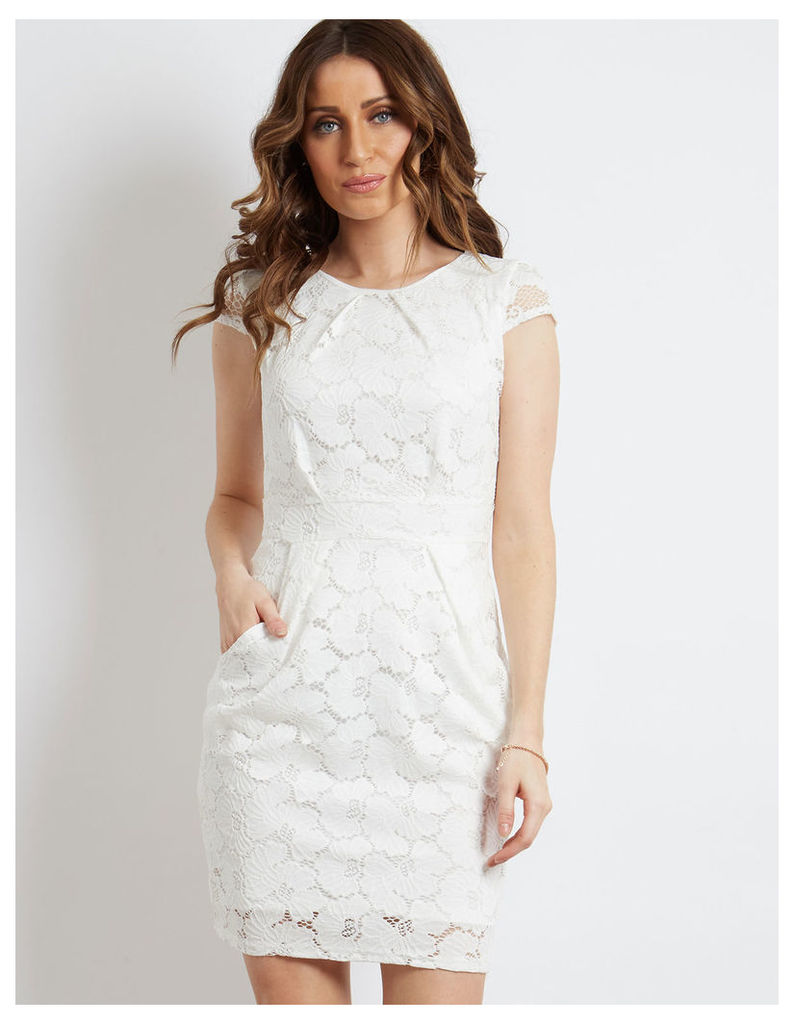 RAMIRA - Floral Lace Tie Back Pleated Dress Ivory