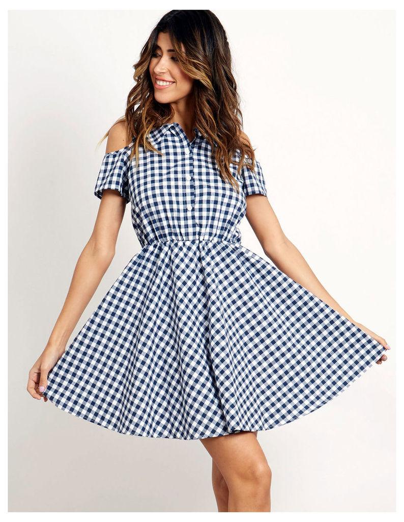 METHA - Gingham Dress Navy