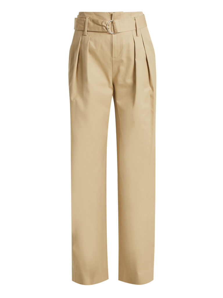 High-waist oversized cotton-twill trousers