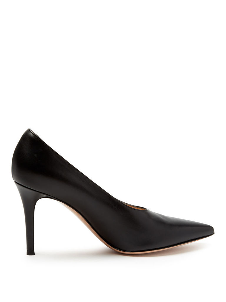 Gianvito high-cut point-toe leather pumps