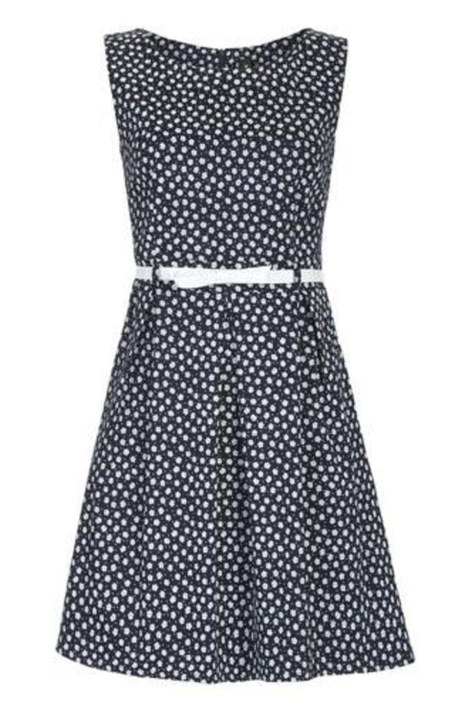Belted Daisy Print Dress