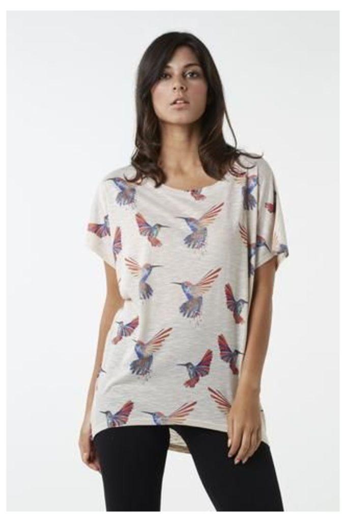 Oversized Hummingbird Print Top