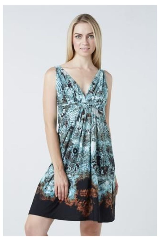 Gathered Abstract Print Dress