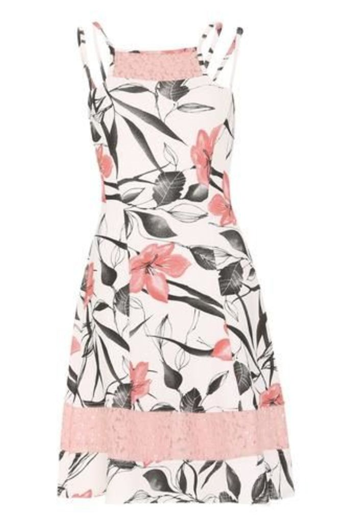 Fit and Flare Dress with Lace Panels