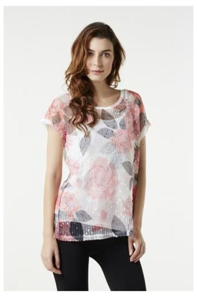 Floral Print Oversized Net T-Shirt