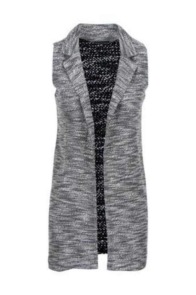 Sleeveless Monochrome Knit Jacket