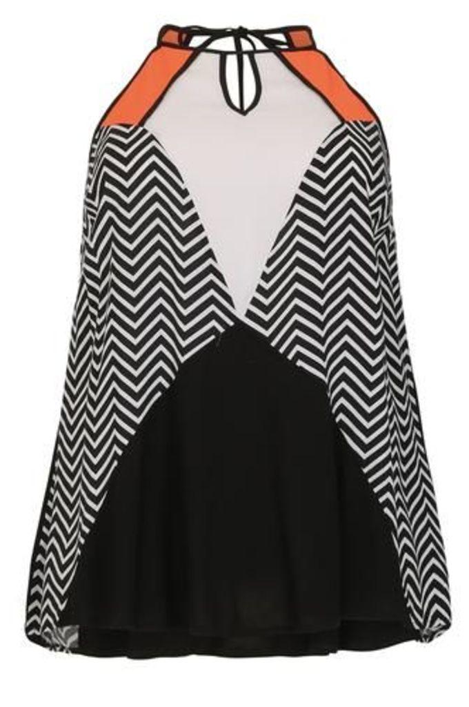 Plus Size Block Colour and Chevron Print Swing Dress