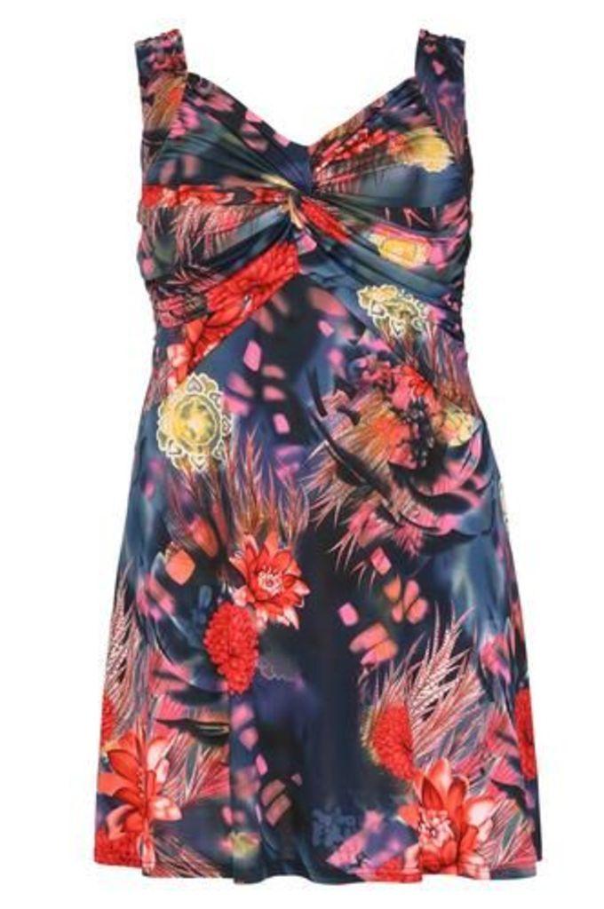 Plus Size Knot Front Midi Dress