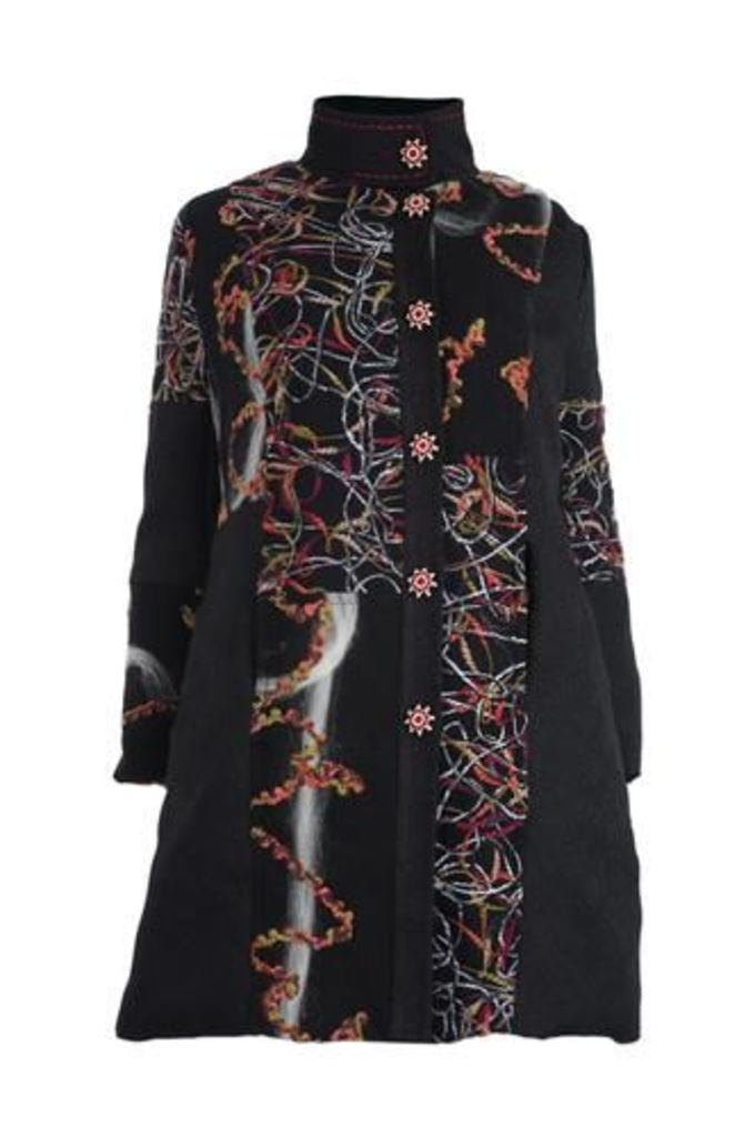 Plus Size Embroidery Twist Felted Coat