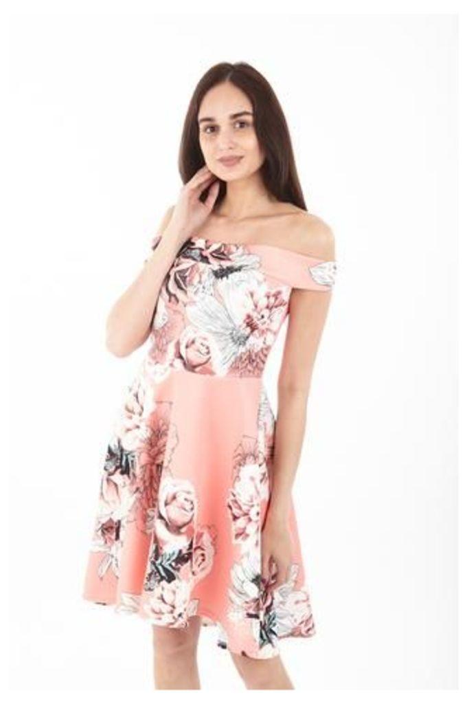 Floral Bardot Vintage Dress