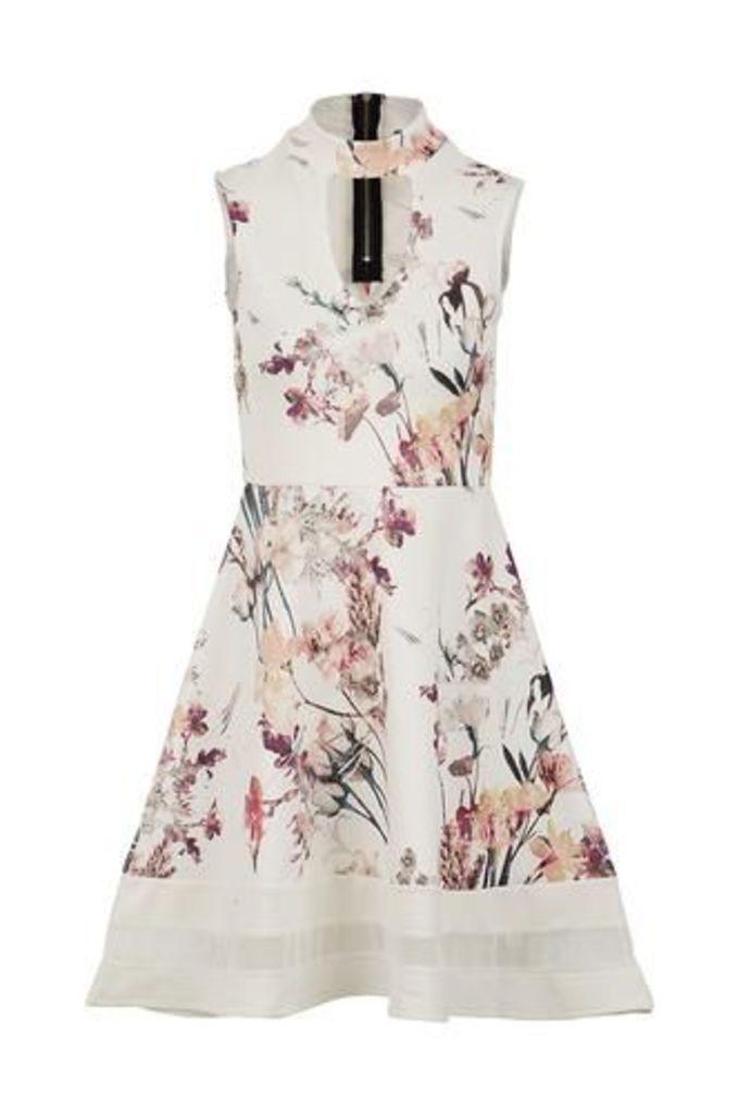 Choker Neck Floral Skater Dress